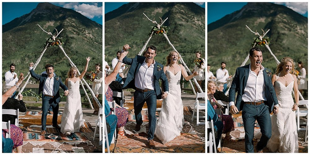 groom fist pump, marble colorado wedding, marble lodge wedding, maroon bells wilderness wedding, outdoor colorado wedding ceremony, adventurous colorado wedding photographer