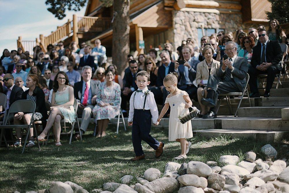 ring bearer flower girl at agape outpost, breckenridge colorado wedding, breckenridge colorado wedding photographer, the church at agape outpost wedding, agape outpost wedding photographer