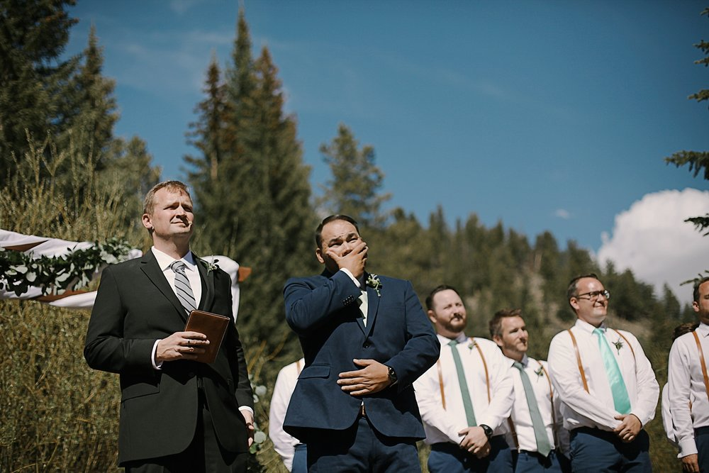 groom crying, groom cries seeing his bride, breckenride colorado wedding, breckenridge colorado wedding photographer, the church at agape outpost wedding, agape outpost wedding photographer