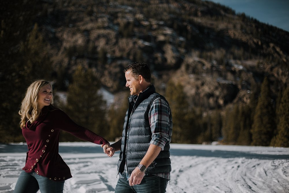couple walking together, adventure session, colorado engagement session, colorado wedding photographer, leadville wedding photographer, red cliff wedding photographer
