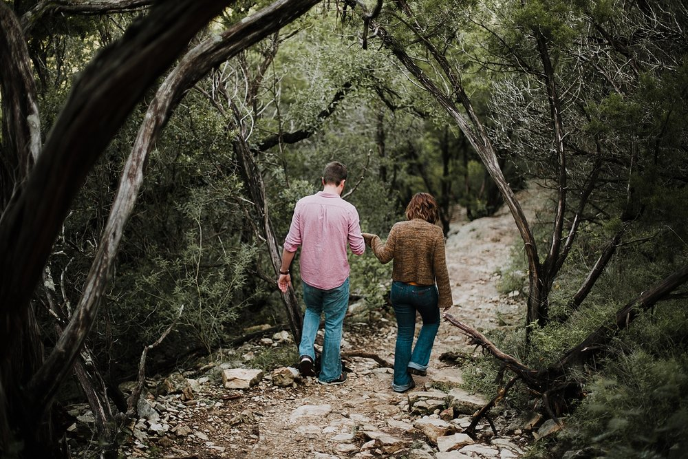 couple hiking, hiking engagements, austin texas wedding photographer, austin texas engagements, green belt engagements, green belt wedding photographer