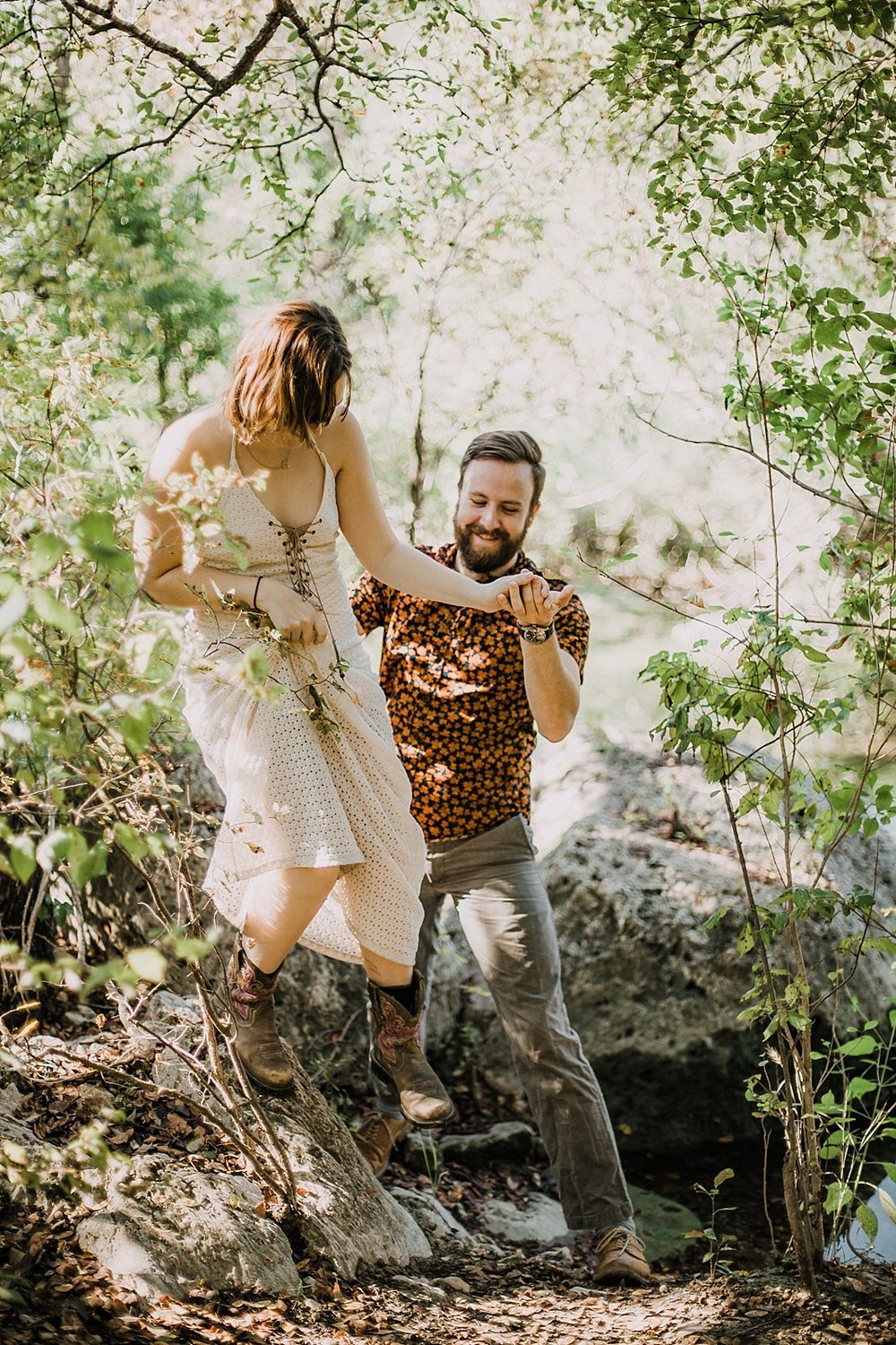 couple hiking together, austin texas engagements, dripping springs texas intimate wedding photographer, chapel dulcinea wedding photographer, south africa wedding photographer