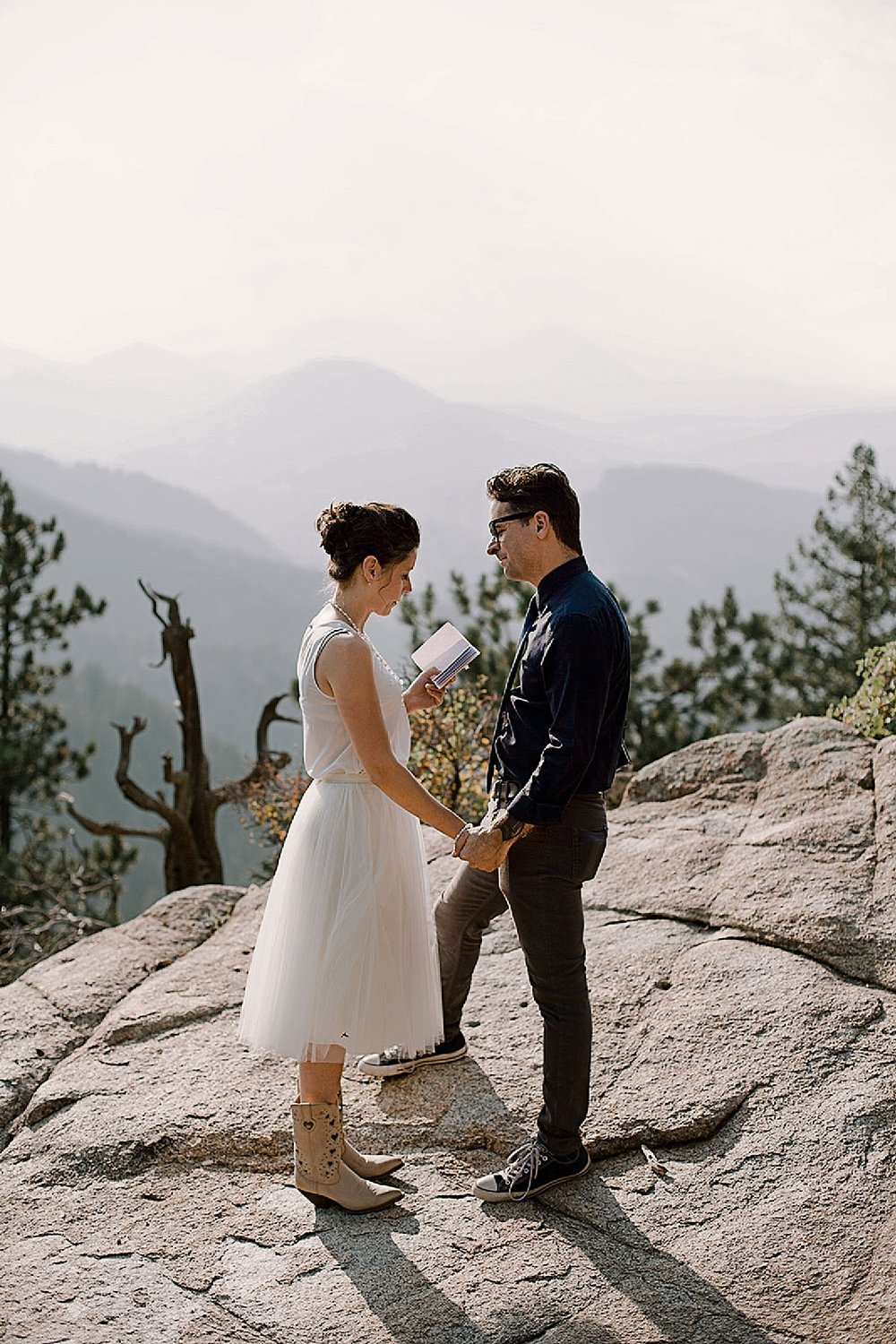 couple vows, intimate elopement, self solemnizing elopement, boulder colorado elopement photographer, nederland colorado elopement photographer, realization point elopement