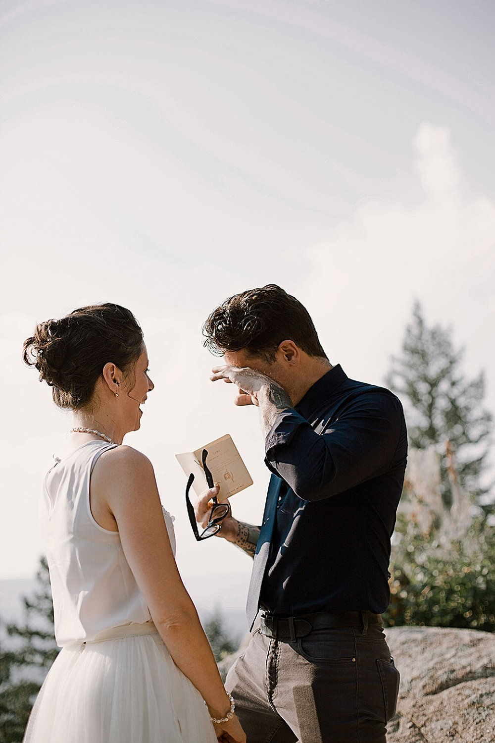 groom crying, intimate colorado elopement, boulder colorado elopement photographer, nederland colorado elopement photographer, realization point elopement, self solemnizing elopement