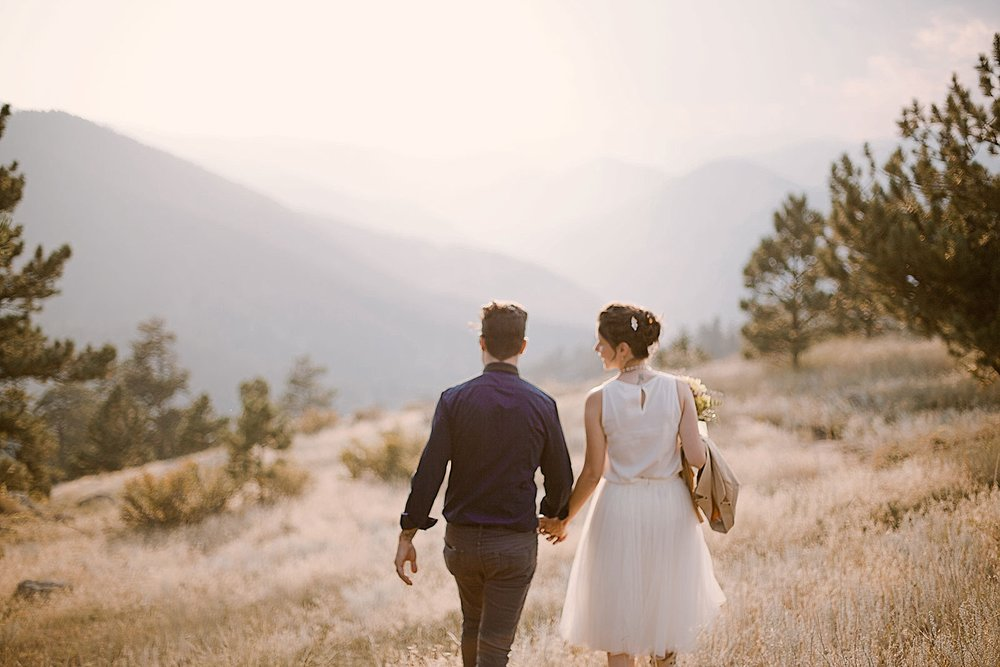 couple hiking, self solemnizing elopement, colorado self solemnization, boulder colorado elopement, boulder colorado elopement photographer, realization point elopement