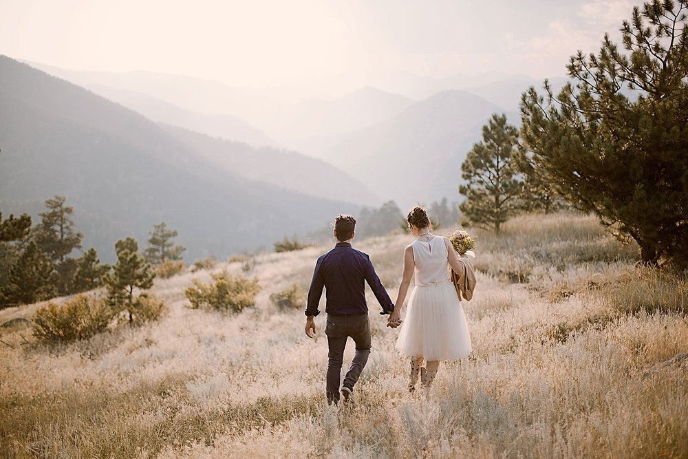 couple hiking, colorado self solemnization, colorado self solemnizing elopement, boudler colorado elopement photographer, realization point elopement