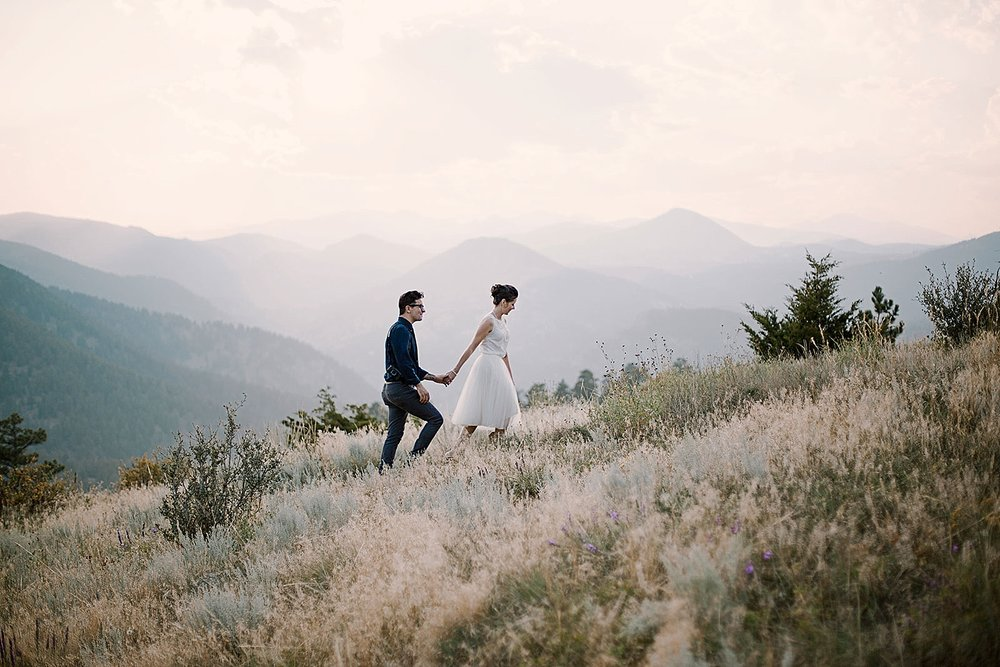 couple hiking, boulder colorado elopement photographer, colorado self solemnizing elopement, realization point elopement, nederland colorado elopement photographer