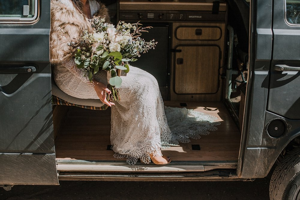 bride getting ready in westfalia van, gateway natural area elopement, seaman reservoir elopement, fort collins colorado elopement, colorado elopement, fort collins wedding photographer, bride