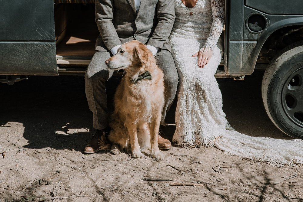 bride and groom with dog, self solemnizing elopement, gateway natural area elopement, seaman reservoir elopement, fort collins colorado elopement, colorado elopement, fort collins wedding photographer