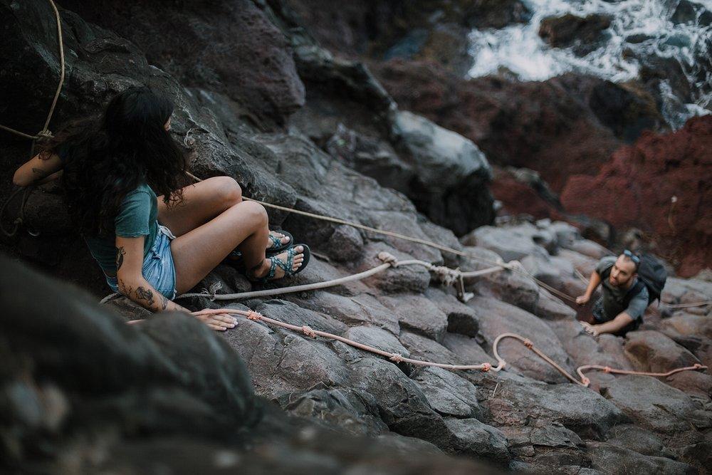 climbing in maui, maui cliffside, hawaiian cliffside, maui elopement photographer, maui wedding photographer, maui adventure, maui hiking, maui hawaii hiking, maui tide pool, maui shoots and ladders