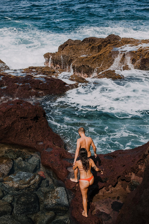 maui tidepools, maui diving, maui cliffside, maui elopement photographer, maui wedding photographer, couple on cliffside, maui hiking, maui hawaii hiking, lahaina maui beaches, alexis russell ring