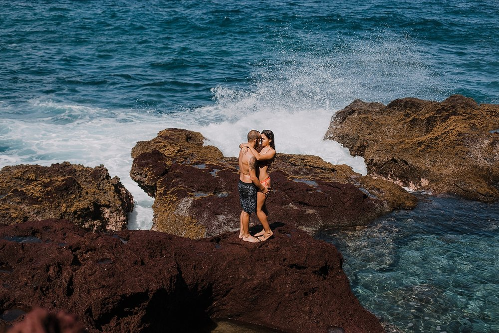 maui tidepools, maui diving, maui cliffside, maui elopement photographer, maui wedding photographer, couple on cliffside, maui hiking, maui hawaii hiking, lahaina maui beaches, swimsuit engagement