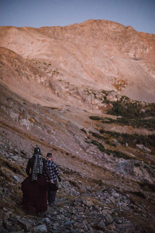 sunrise hike, sunrise at james peak, colorado 13er, little echo lake, hike james peak wilderness, hike james peak lake, hike little echo lake, james peak elopement, winter park elopement