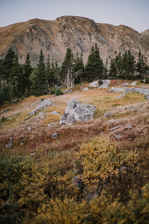 sunrise at james peak, colorado 13er, little echo lake, backpacking james peak wilderness, hike james peak lake, hike little echo lake, james peak elopement, winter park elopement