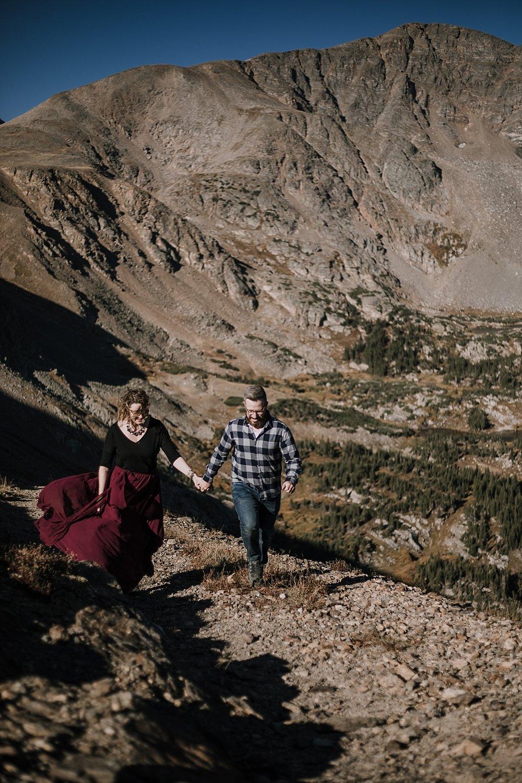 hiking couple, colorado 13er, hike little echo lake, backpacking james peak wilderness, hike james peak lake, james peak elopement, winter park elopement, backpacking winter park