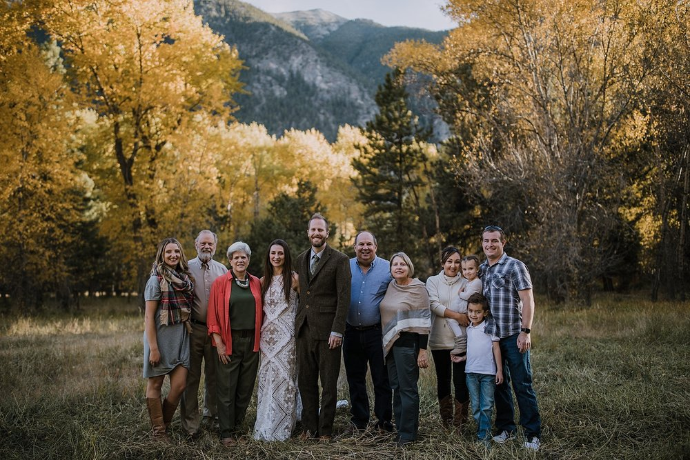 family elopement in the woods, post elopement celebration, wedding in the woods, buena vista elopement, buena vista wedding, nathrop colorado wedding, adventurous colorado elopement, bv farmers market
