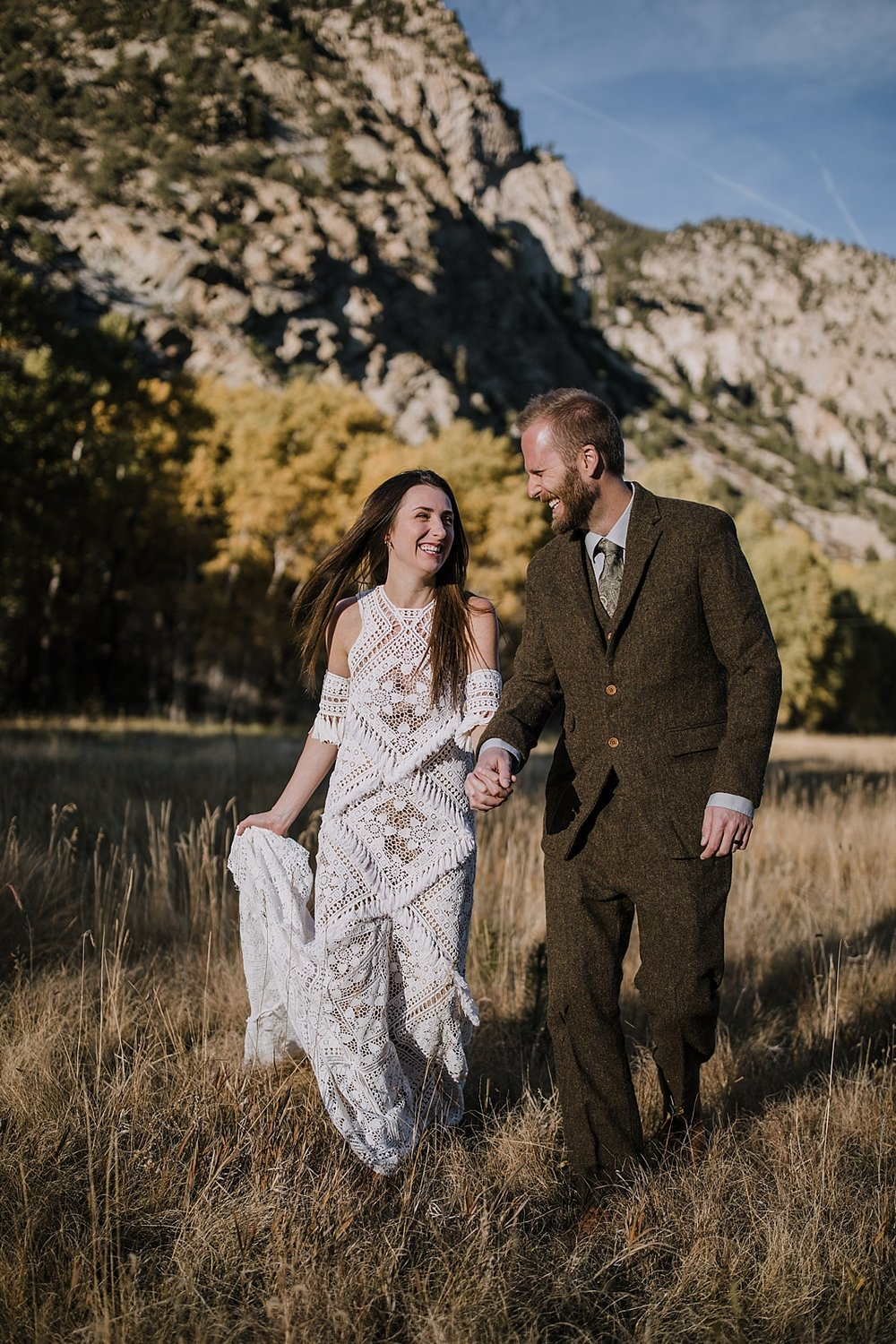 rue de seine dress, couple hiking, norway elopement, post elopement celebration, wedding in the woods, buena vista elopement, buena vista wedding, nathrop colorado wedding, adventurous elopement