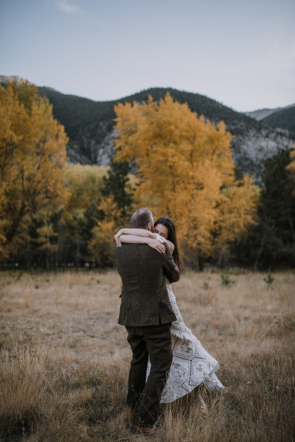 couple twirling, couple hiking, norway elopement, post elopement celebration, wedding in the woods, buena vista elopement, buena vista wedding, nathrop colorado wedding, adventurous elopement