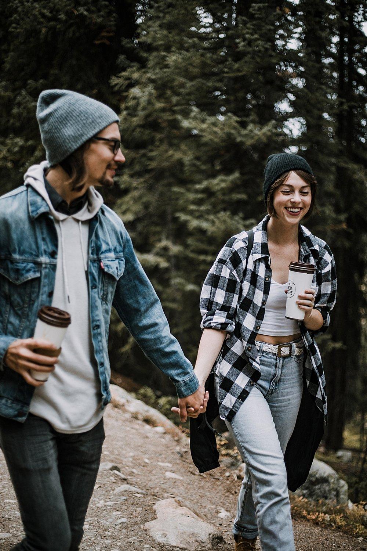 couple holding hands hiking, hike mayflower gulch, mayflower gulch proposal, mayflower gulch elopement, mayflower gulch wedding, mayflower gulch engagments, leadville elopement, leadville wedding