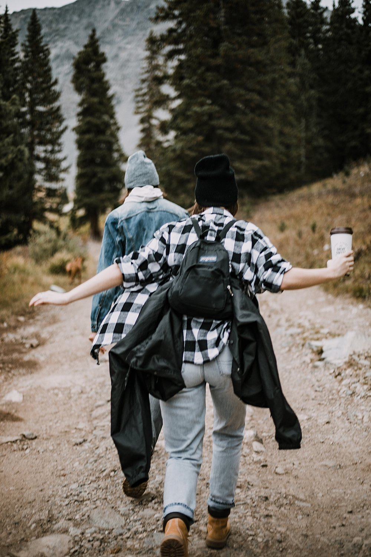 couple hiking colorado mountains, hike mayflower gulch, mayflower gulch proposal, mayflower gulch elopement, mayflower gulch wedding, mayflower gulch engagments, leadville elopement, leadville wedding
