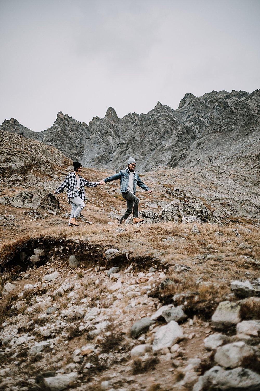 hiking couple, colorado surprise proposal, hike mayflower gulch, mayflower gulch proposal, mayflower gulch elopement, mayflower gulch wedding, colorado mountainscape, leadville elopement