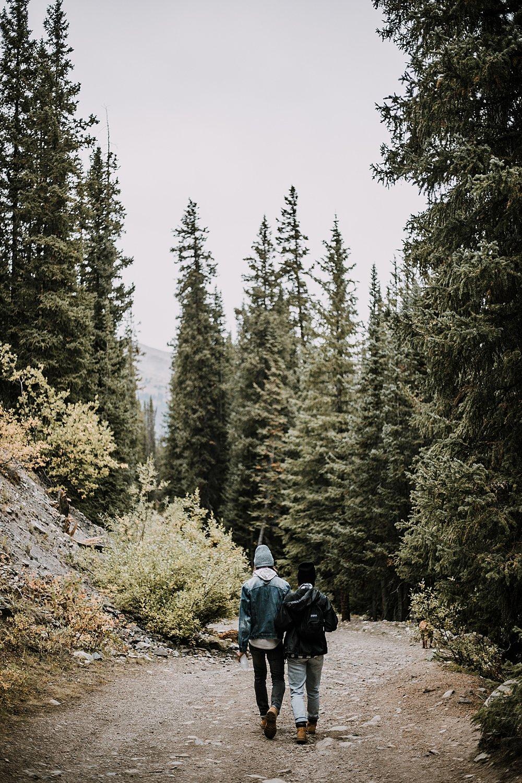 hiking through mountain wilderness, hike mayflower gulch, mayflower gulch proposal, mayflower gulch elopement, mayflower gulch wedding, colorado 14er, colorado fourteener, leadville elopement