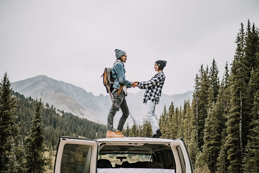 dancing on van, couple living out of a van, van life with dogs, hiking mayflower gulch, mayflower gulch elopement, mayflower gulch wedding, colorado 14er, colorado fourteener, leadville elopement