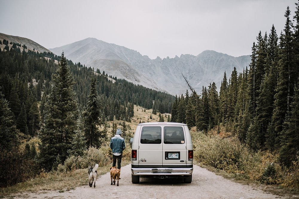 rolling out, couple living out of a van, van life with dogs, hiking mayflower gulch, mayflower gulch elopement, mayflower gulch wedding, colorado 14er, colorado fourteener, leadville elopement