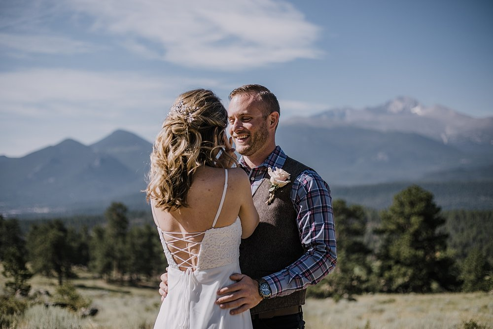 elopement couple first look, rocky mountain national park elopement, 3M curves elopement, self solemnizing, self solemnization, long's peak ceremony, hiking elopement, estes park elopement