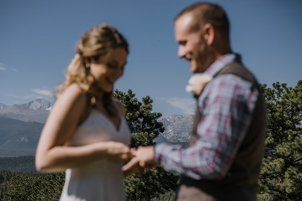 ring exchange, RMNP elopement ceremony, rocky mountain national park elopement, 3M curves elopement, self solemnizing, self solemnization, long's peak, hiking elopement, estes park elopement