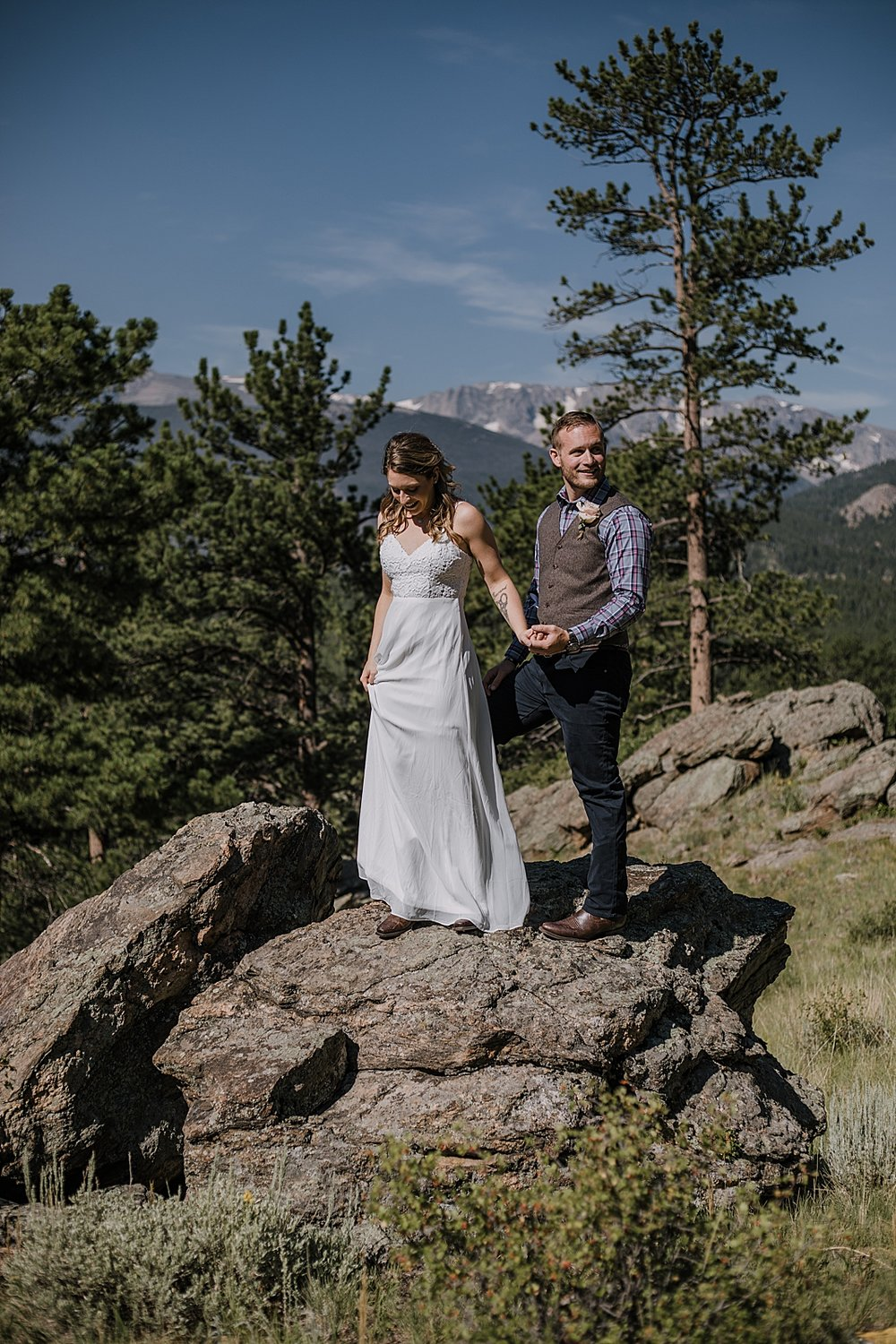 couple hiking, RMNP elopement ceremony, rocky mountain national park elopement, 3M curves elopement, self solemnizing, self solemnization, long's peak, hiking elopement, estes park elopement