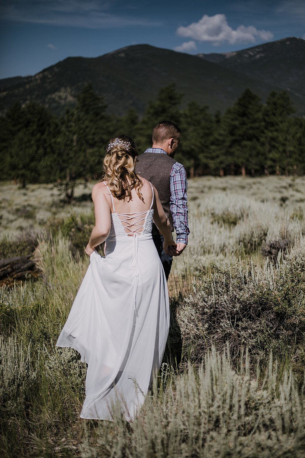 couple hiking, RMNP elopement ceremony, rocky mountain national park elopement, 3M curves elopement, self solemnizing, self solemnization, long's peak, summer hiking elopement, estes park elopement