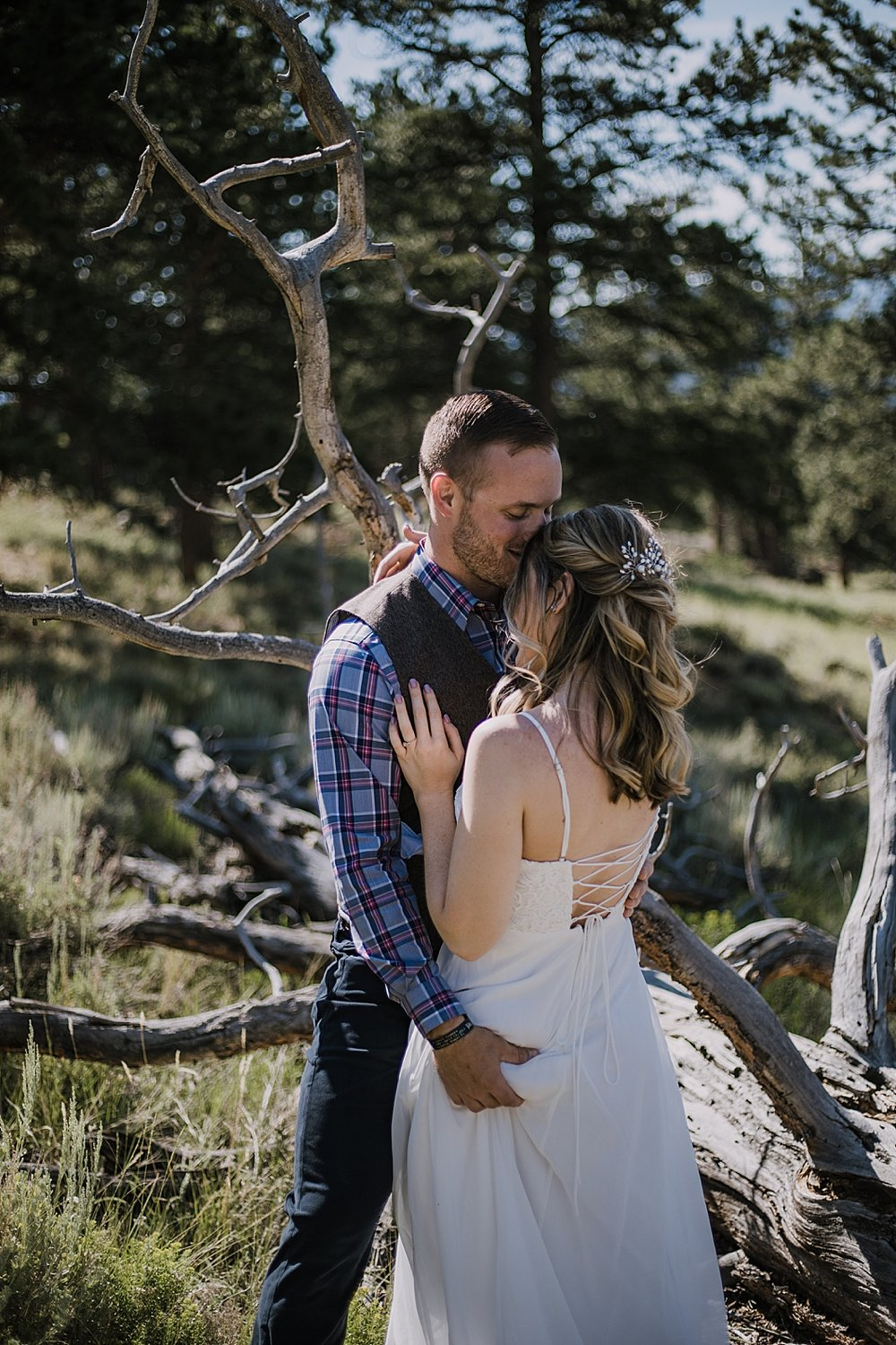 groom butt grab, RMNP elopement ceremony, rocky mountain national park elopement, 3M curves elopement, self solemnizing, self solemnization, long's peak, summer hiking elopement, estes park elopement