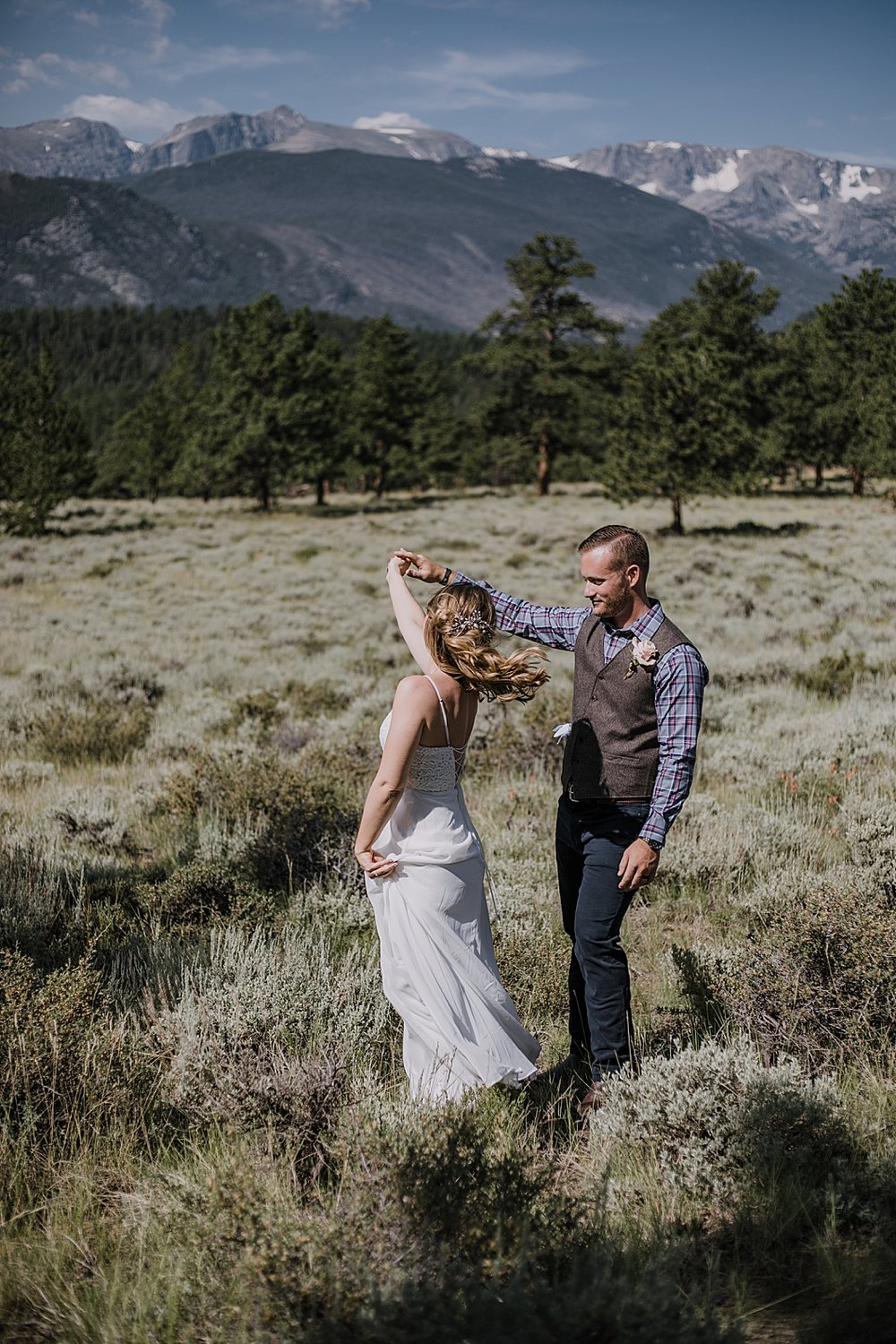 first dance, RMNP elopement ceremony, rocky mountain national park elopement, 3M curves elopement, self solemnizing, self solemnization, long's peak, summer elopement, estes park elopement