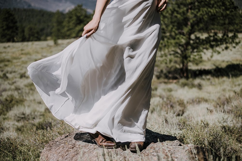 bride in wedding dress, RMNP elopement ceremony, rocky mountain national park elopement, 3M curves elopement, self solemnizing, self solemnization, long's peak, summer elopement, estes park elopement
