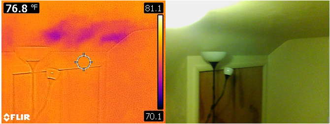 To the casual visual inspection, the barrel-shaped ceiling above the closet appears to be fine.  By using Infrared, the Inspector from Shipshape Inspections was able to discern the apparent lack of insulation; likely from settlement over time.  This is crucial in keeping a conditioned space comfortable and cost-efficient!