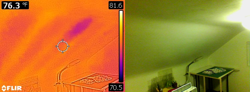 In this second example, not only does thermal imaging identify where the ceiling joists are located, a specific spot that may also be lacking insulation and/or have water penetration was also identified.
