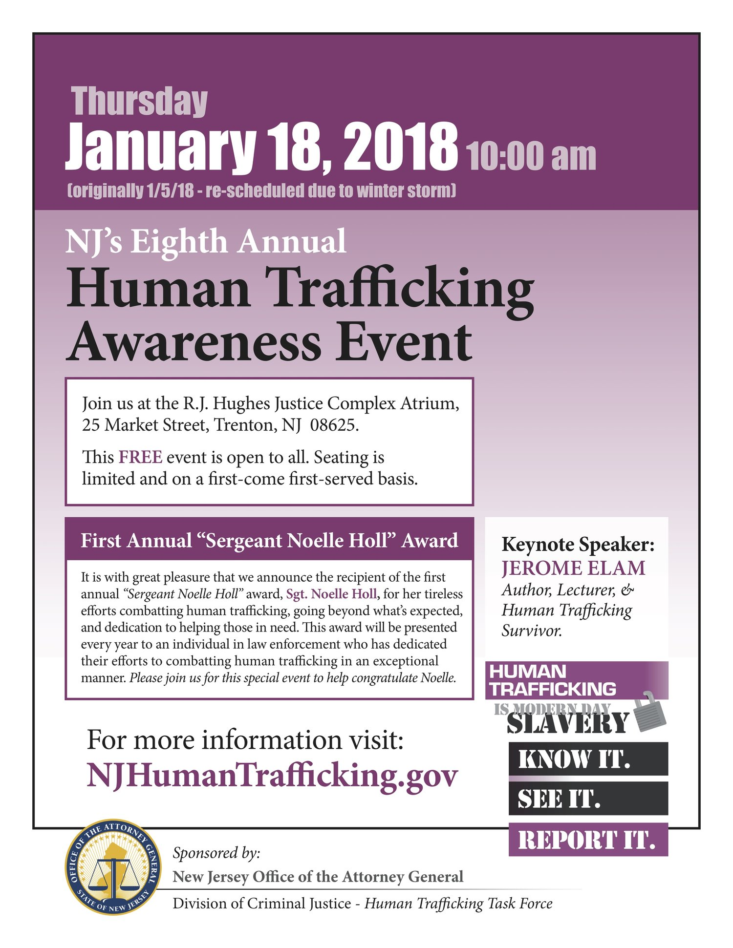 rescheduled nj task force awareness event new jersey coalition