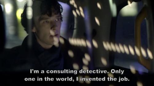 "Sherlock Holmes (Cumberbatch, Benedict)in "" Sherlock Holmes"" (McGuigan, Paul) Season 1, Episode 1  ""A Study in Pink"" (2010)"