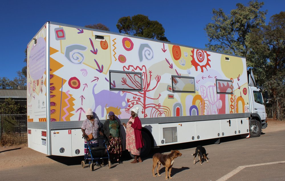 The South Australian Health renal truck helps dialysis patients return home to the APY Lands. The design for the renal truck showcases artwork contributed by all APY Art Centres in a regional project coordinated by Mimili Maku Arts.