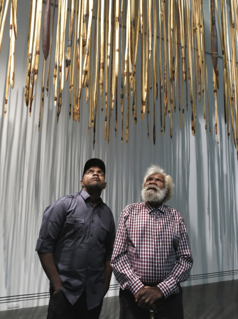 Mr Willy Kaika with his grandson Michael Bruno, Kulata Tjuta, Dark Heart, Adelaide Biennale 2014