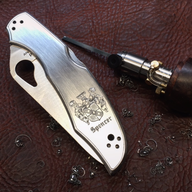 Engraved Family Crest on Byrd Cara Cara Knife