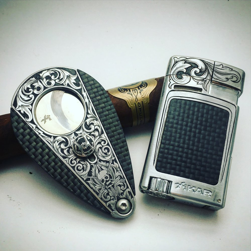 Hand Engraved Cigar Cutter and Lighter Set