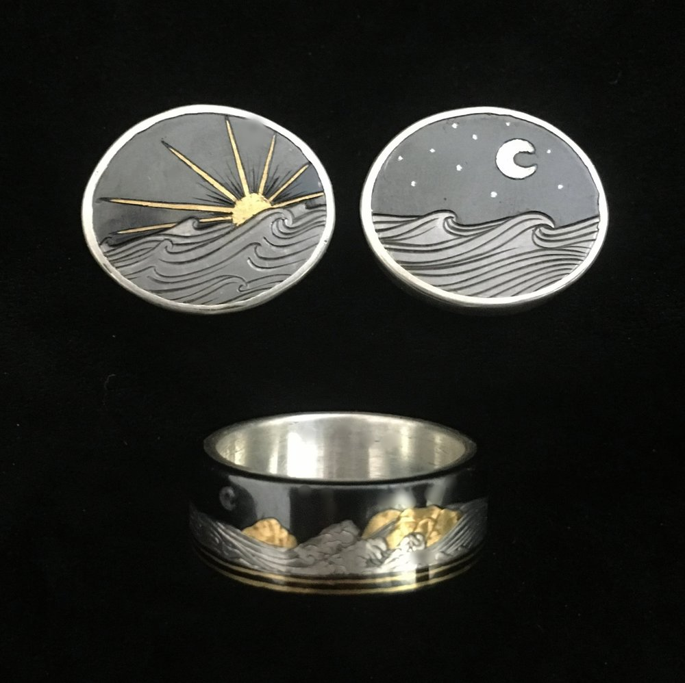 Mens Custom Wedding Ring and Cufflink Set Charcoal Blued Steel, Silver, and 24k Gold