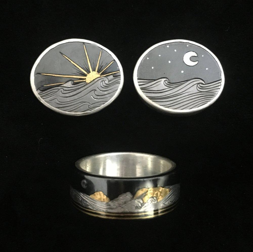Mens Custom Wedding Ring and Cufflink Set