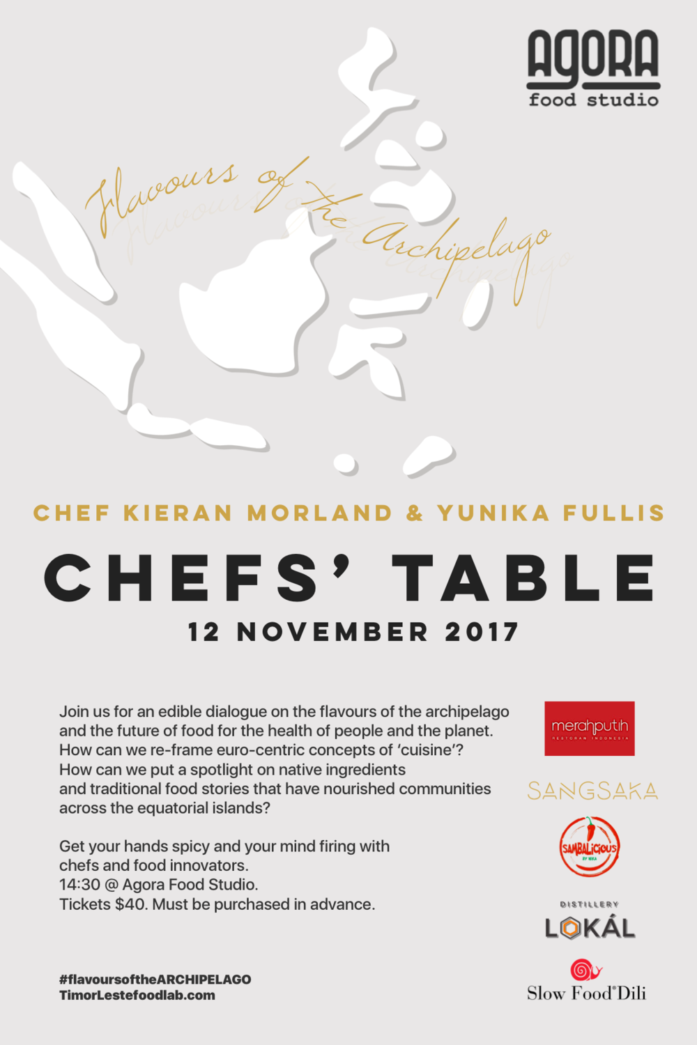 an intimate dialogue with chefs and food innovators - 3pm, sunday 12 nov 2017$40 includes snacksWhat is the future of food in the greater archipelago?How can we re-frame euro-centric concepts of 'cuisine' in this region, with its vast collection of islands, cultures, and flavours?How can we put the spotlight on native ingredients?