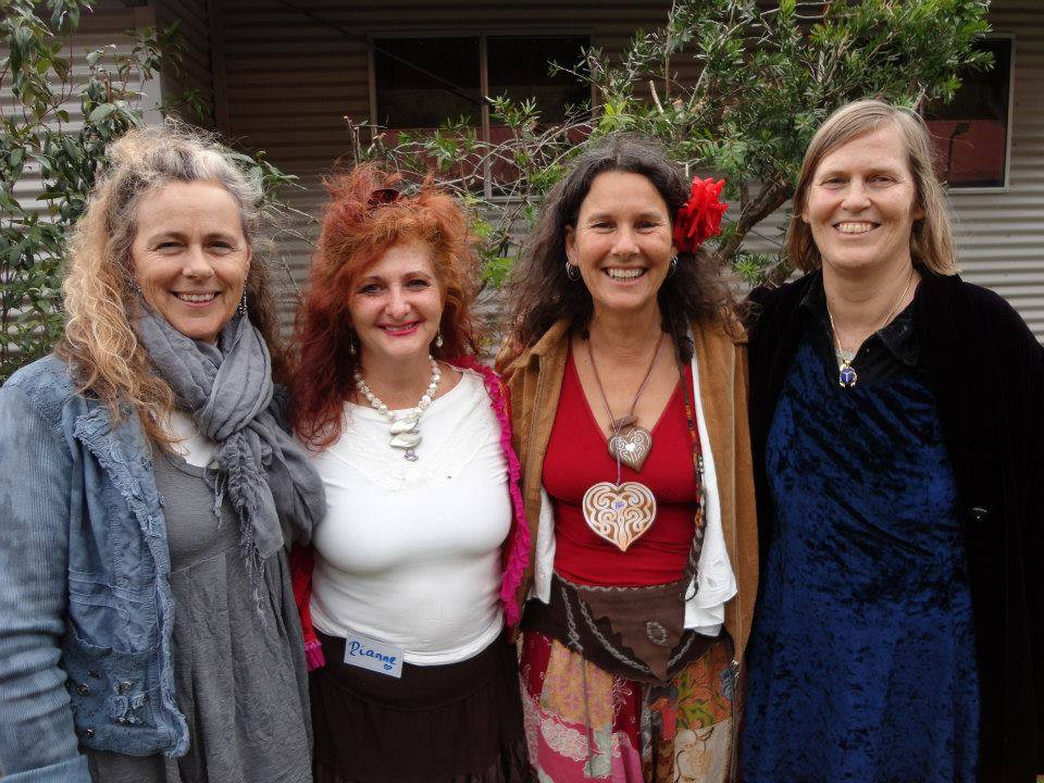 """I dedicate this poem I wrote to my Beautiful Sista Dianne... """"How Much Do You Love Me?"""" my Beloved asked  As much as the Sun Loves the Earth, I replied... - Robin Clayfield  Left to Right — Janet McGeever, Dianne Ryan, Robin Clayfield, Penny Hayes"""