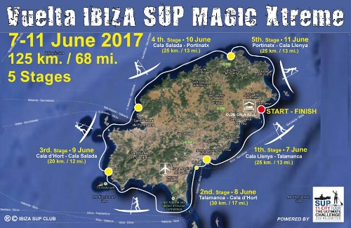 125km around Ibiza in 5 stages.