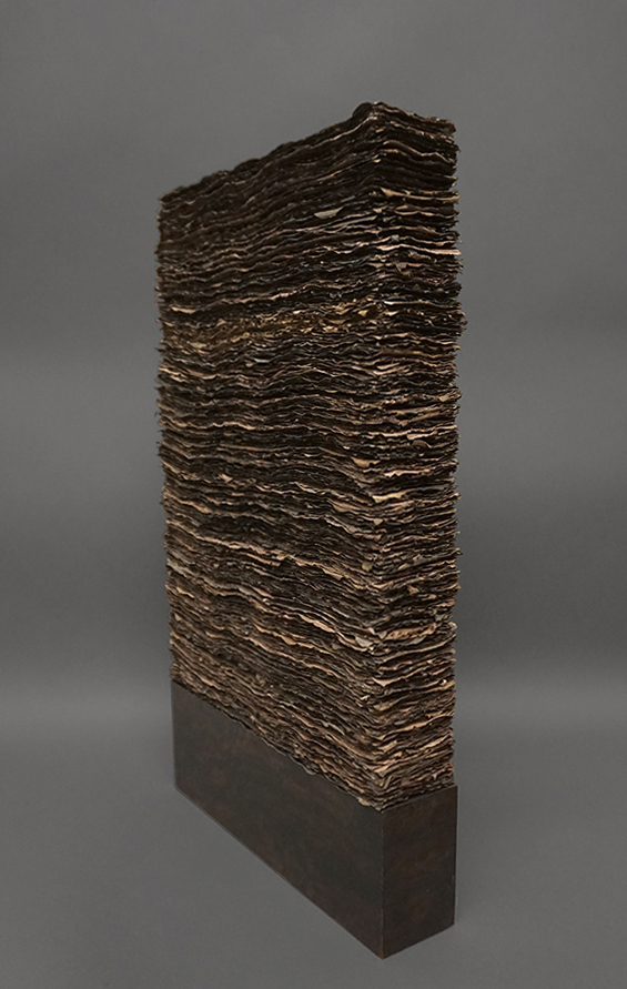 "Alluvium: After the Flood   Media: Handmade paper, walnut dye, oak Dimensions: 3"" x 13"" x 28"" Date: 2013 ___________________________________"