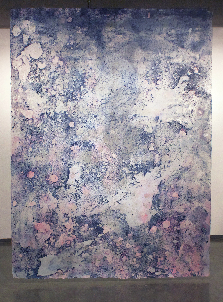 Media: Handmade paper (hand poured kozo) Dimensions: 9 ft x 12 ft Date: 2014 Edition: 1 Course: ARST7380 Directed Study Assignment: Self-directed but supervised project to create very large scale poured handmade paper.